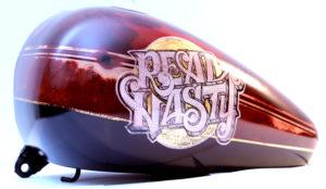 Harley Davidson custom retro vintage paint foglia oro